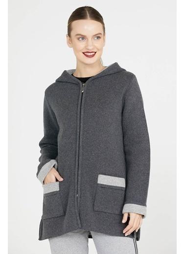 Sementa Cepli Ve Kapüşonlu Kadın Triko Ceket - Koyu Gri - Açık Gri Gri